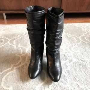 Slouchy Heeled Leather Boots 7.5